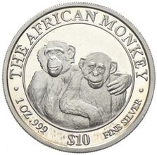 The African Monkey Somali Republik 10 Dollars