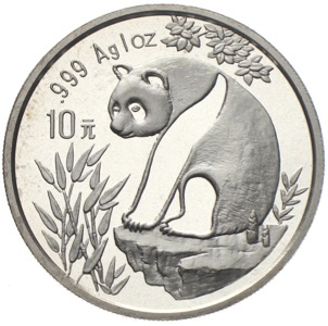 China Panda 10 Yuan 1993 Silberunze