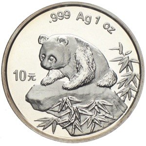 China Panda 10 Yuan 1999 Silberunze