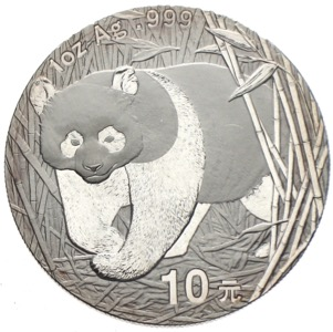 China Panda 10 Yuan 2002 Silberunze