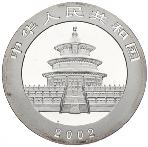 China Panda 10 Yuan 2002 Silber
