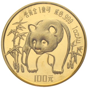 China Panda 1986 100 Yuan 1 Unze Gold