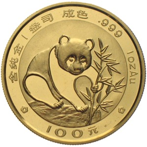 China Panda 1988 100 Yuan 1 Unze Gold