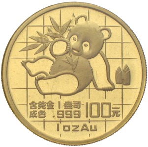 China Panda 1989 100 Yuan 1 Unze Gold