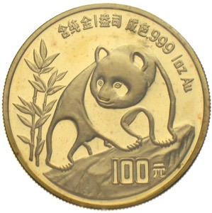 China Panda 1990 100 Yuan 1 Unze Gold