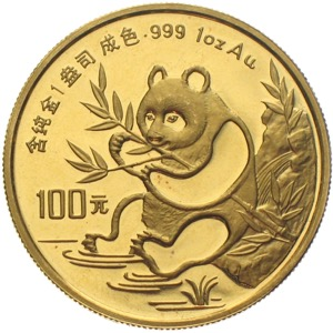 China Panda 1991 100 Yuan 1 Unze Gold