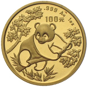 China Panda 1992 100 Yuan 1 Unze Gold
