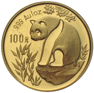 China Panda 1993 100 Yuan 1 Unze Gold
