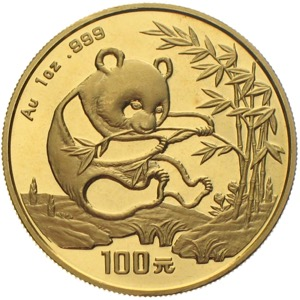China Panda 1994 100 Yuan 1 Unze Gold