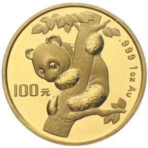 China Panda 1996 100 Yuan 1 Unze Gold