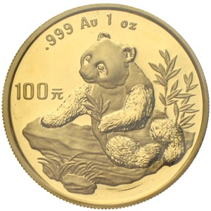 China Panda 1998 100 Yuan 1 Unze Gold