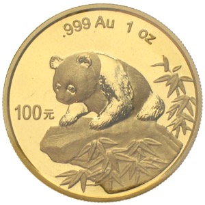 China Panda 1999 100 Yuan 1 Unze Gold