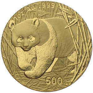 China Panda 2001 500 Yuan 1 Unze Gold