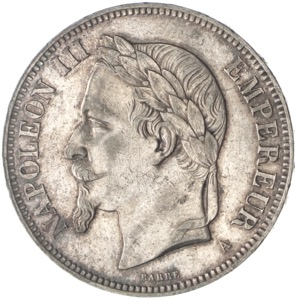 Frankreich 5 Francs Napoleon III 1870 Silber