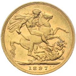 Sovereign Victoria Old Head 1897 2 Pfund
