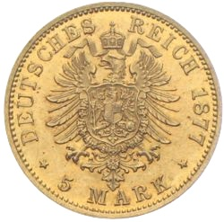 5 Mark Preussen Gold Wilhelm 1877