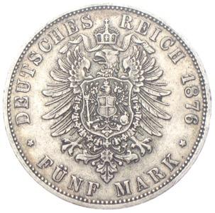 Preussen 5 Mark Wilhelm 1876 Reichssilbermünze