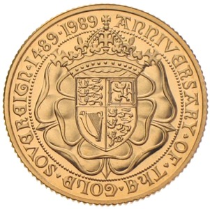 Gold Sovereign 500th anniversary 1489-1989