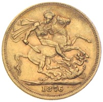 Sovereign Victoria 1876 Goldmünze Grossbritannien