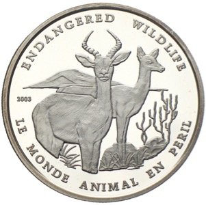 Togo 1000 Francs Endangered Wildlife 2003 Gazelle