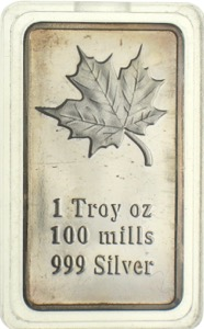 1 Troy OZ 100 mills 999 Silver Gold Barren