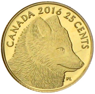 canada 25 cent gold predator vs. prey Polarfuchs 2016