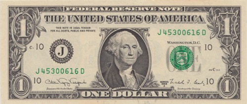 US Dollar Banknote George Washington Serie 1988 Greenback