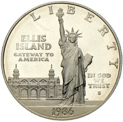 Statue of Liberty One Silver Dollar 1986 Ellis Island