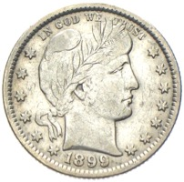 USA Quarter Dollar Barber 1899