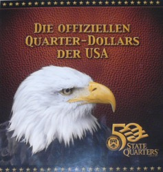 USA State Quarter Dollars im Folder Weißkopfseeadler